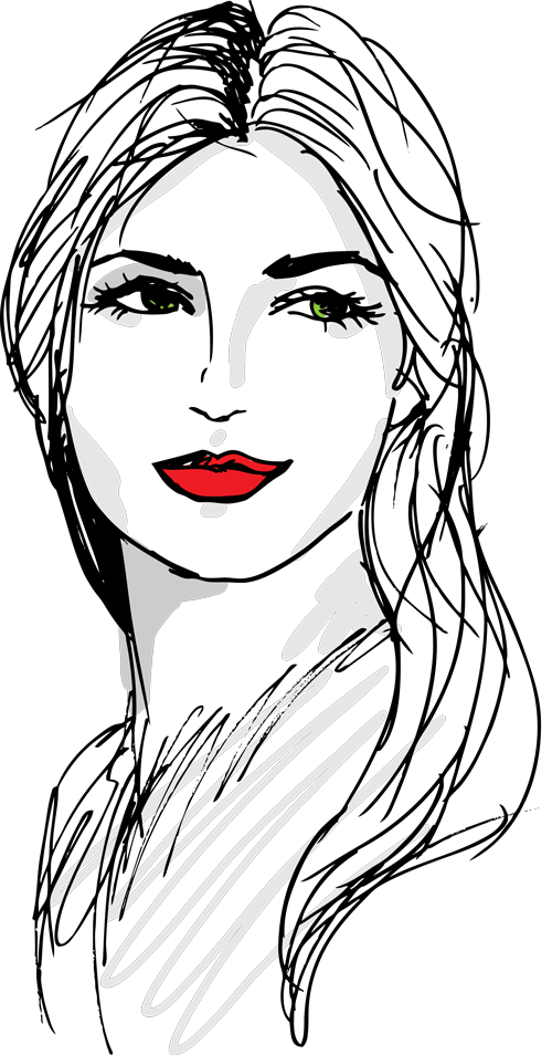 drawing of a woman's face in black ink, with red lipstick